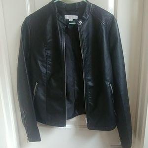 New York & Co Faux Leather Black Moto Jacket
